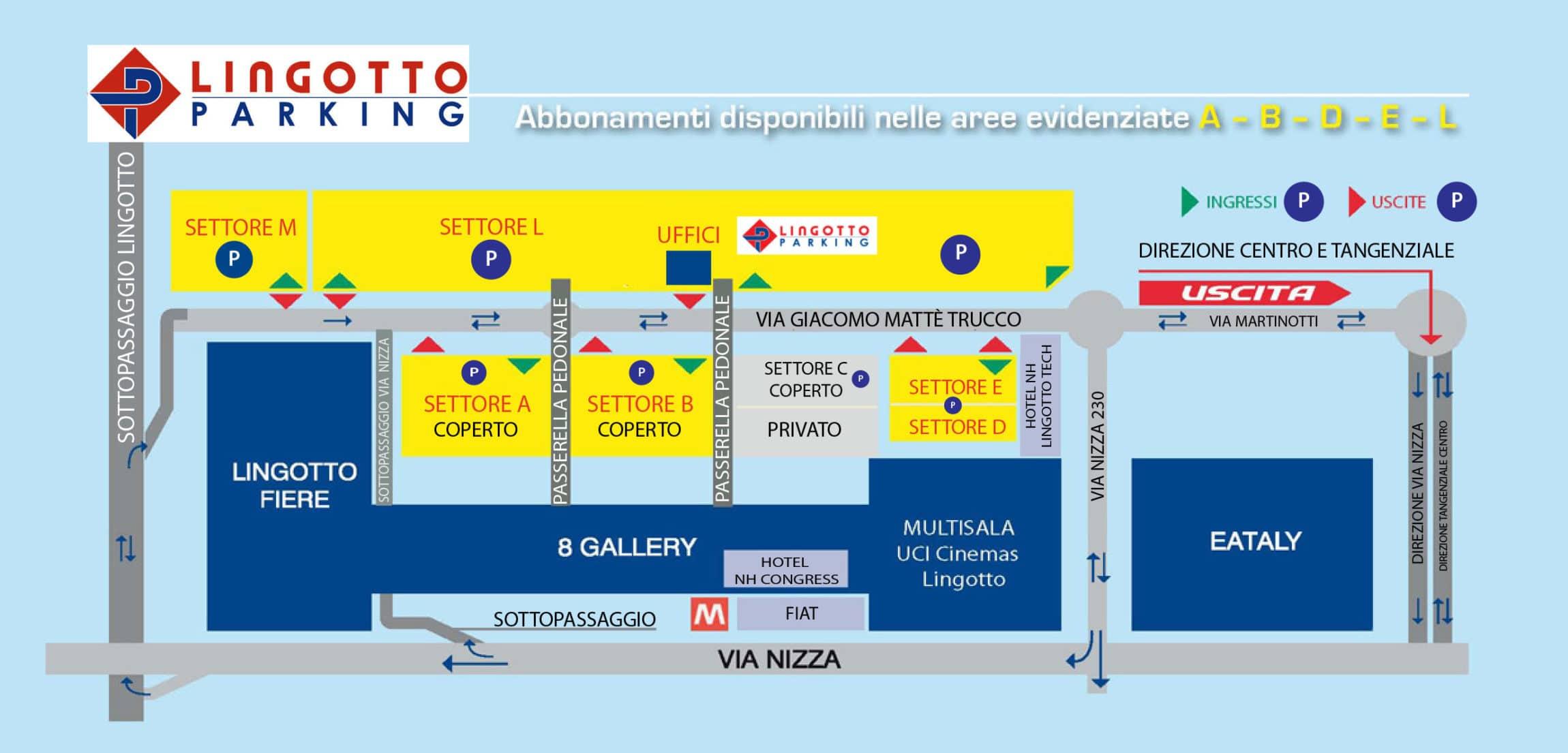 mappa lingotto parking, tariffe parcheggio