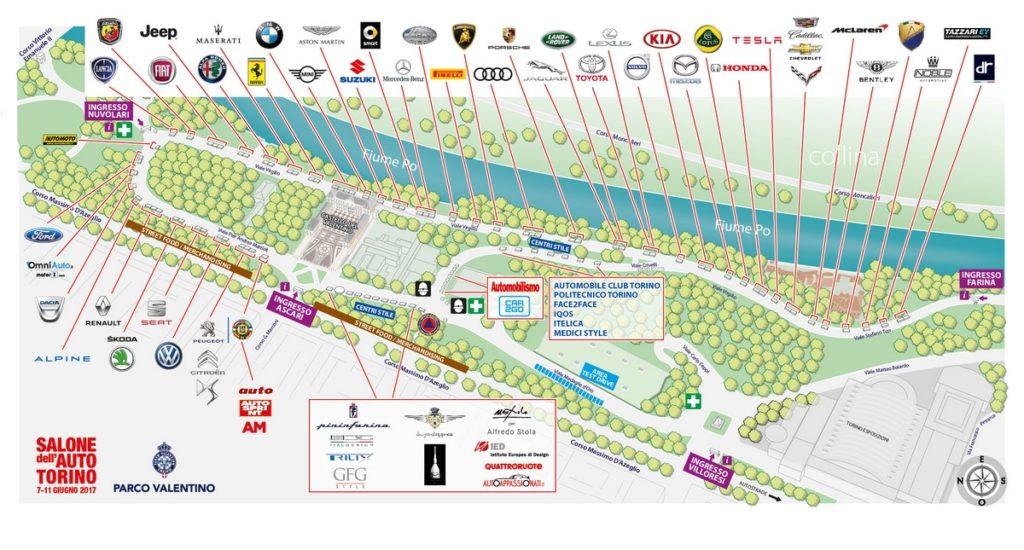 mappa salone dell'auto torino parcheggio